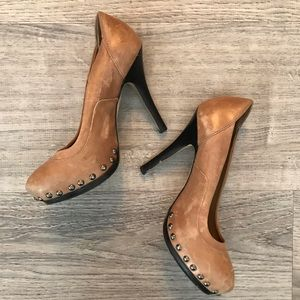 Aldo tan leather studded heels.